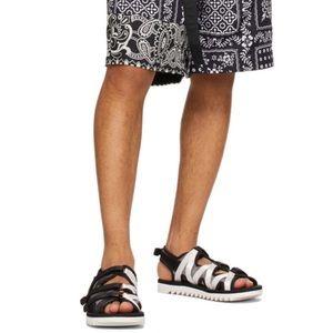 Suicoke Zip 3AB Black & White Velcro Strap Sandals
